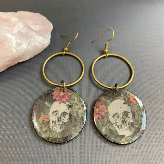 Mixed Media Flowers and Skulls Statement Earrings | Spooky | Witchy | Halloween