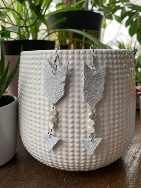 White Leather Arrow Shape Statement Earrings | Boho | Hippie | Stylish | Trendy | Unique