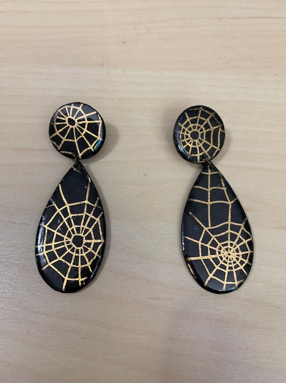 Handmade Spiderweb Earrings | Teardrop Shape | Unique | spooky | Perfect For Halloween