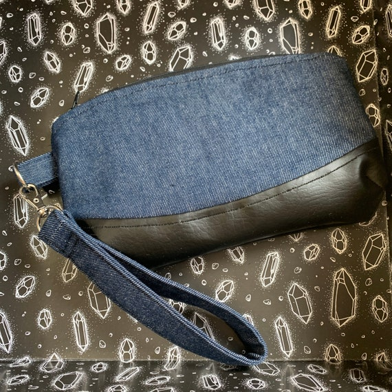 Versatile Wristlet Bag | Denim and Vegan Leather | Skulls and Ravens Lining | Interior Pocket