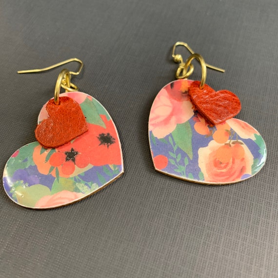 Mixed Media Heart Earrings / Perfect For Valentines / Flowers and Hearts / Small size