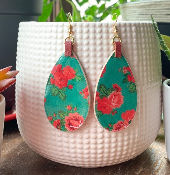 Large floral teardrop Mixed Media  statement earrings | Stylish | Lightweight | Gift for Her | Perfect For Spring and Summer