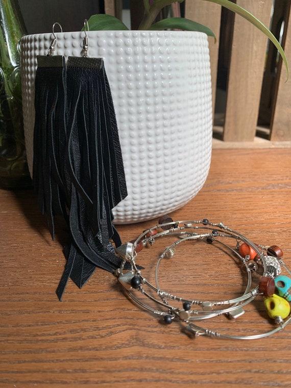 The ROCKSTAR Set | Long Leather Fringe Statement Earrings | 4 Handwrapped Stacking Bangle Bracelets | Skulls and Studs | Goth Look | Rocker