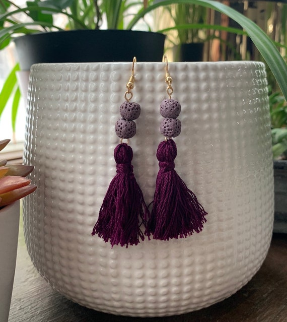 Tassel Earrings | Diffuser Jewelry | Aromatherapy | Lava Beads | Statement Earrings | Gift for Her