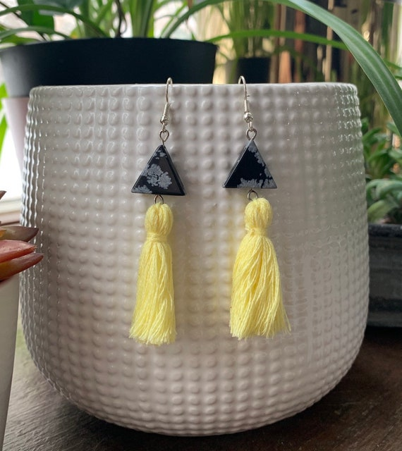 Snowflake Obsidian and Yellow Tassel Statement Earrings | Gift for Her | Trendy | Stylish | Lightweight