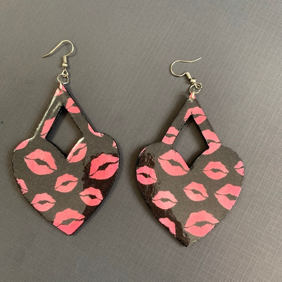 Mixed Media Heart Shaped Valentines Earrings / Handmade / One Of A Kind