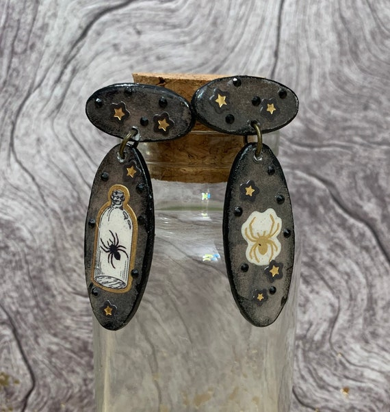 Spider Earrings   Handmade   Unique   Gift for Her   Perfect For Halloween