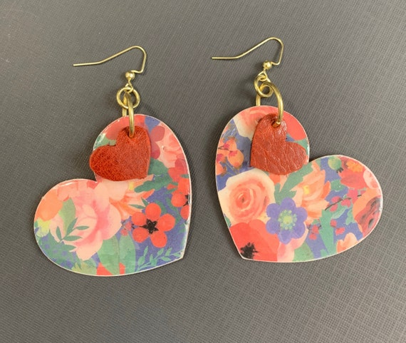 Mixed Media Heart Shaped Earrings / Perfect For Valentines / Gift For Her / Large Size