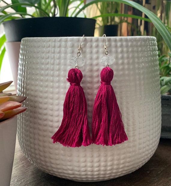 Magenta Tassel Statement Earrings | Handmade | Lightweight | Trendy | Stylish | Gift For Her