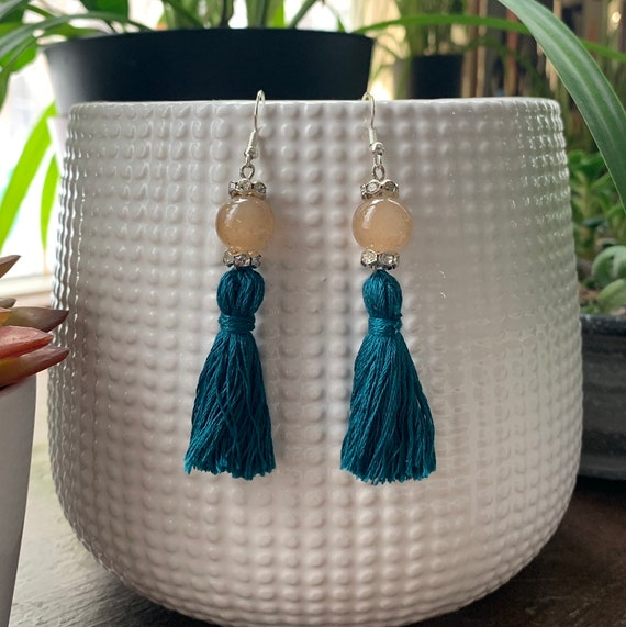 Turquoise color Tassel Statement Earrings | Gift for Her | Trendy | Stylish | Lightweight