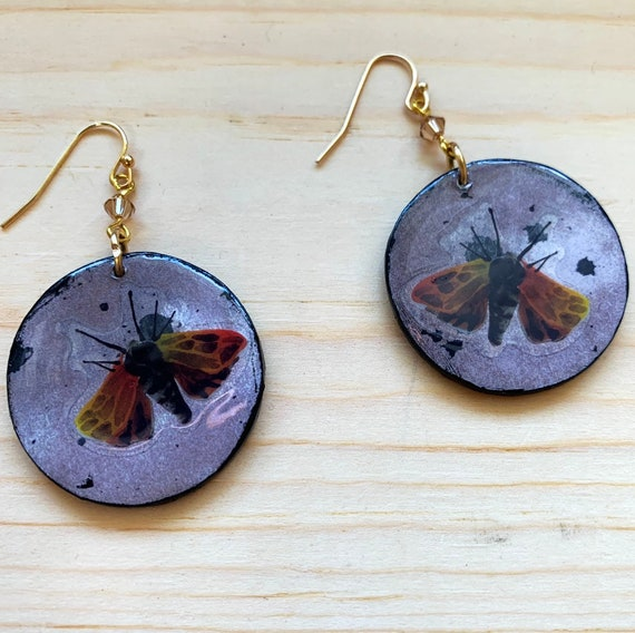 Moth Earrings | Halloween Jewelry | Spooky Earrings | Goth Look | Mixed Media Statement Earrings | Witchy Wear