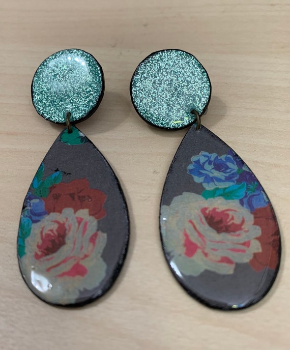 Unique Handmade Floral Statement Earrings | One of a kind | Sparkly | Lightweight
