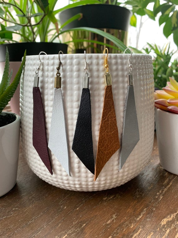Asymmetrical Long Triangle Leather Statement Earrings | Stylish | Trendy | Gift For Her | Lightweight | Simple Design | Natural Style