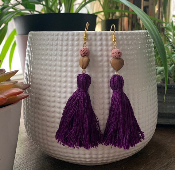 Tassel Earrings | Diffuser Jewelry | Aromatherapy | Lava Beads | Statement Earrings | Gift for Her | Trendy
