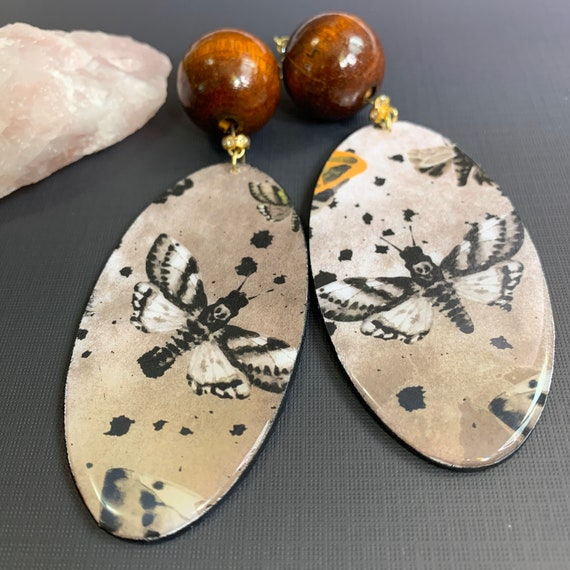 Extra Large Moth Mixed Media Earrings | Spooky Jewelry | Boho | Witchy Vibe | Statement Earrings | Gift for Her | Perfect For Halloween