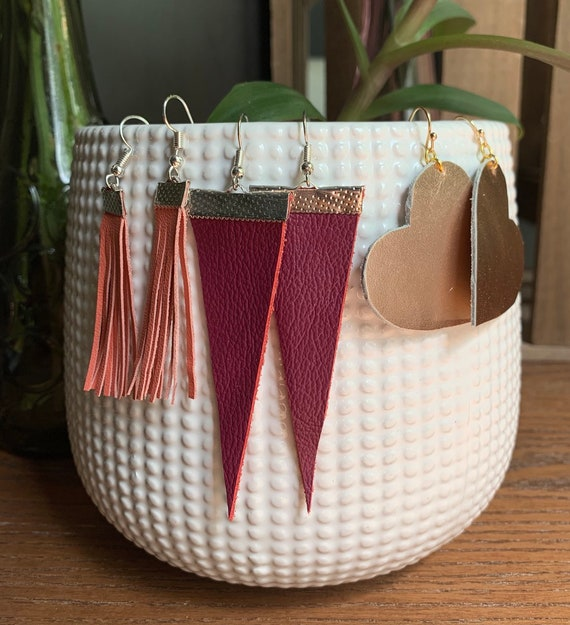 Set of 3 Pair of Earrings | Handmade | Hand-cut | Stylish | Leather Fringe | Rose Gold Metallic | Fuachia | Coral | Great for Gifts