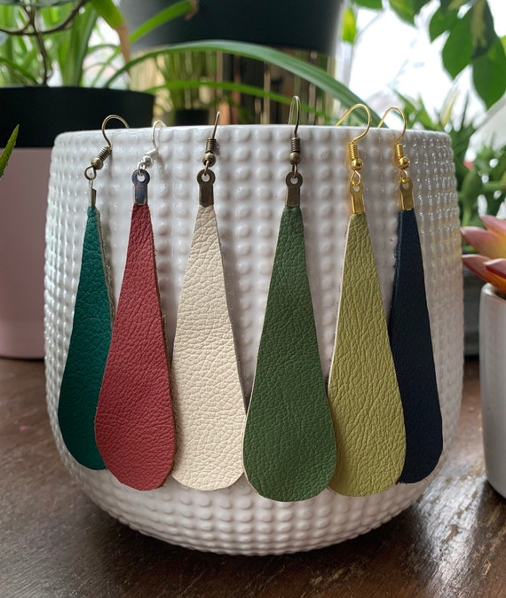 Elongated Teardrop Leather Statement Earrings | Stylish | Trendy | Gift For Her | Lightweight | Simple Design | Natural Style