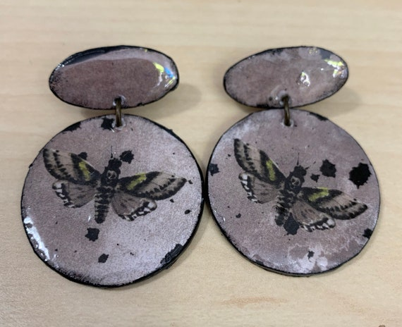 Handmade Deaths Head Hawkmoth Earrings | Lightweight | Perfect For Halloween