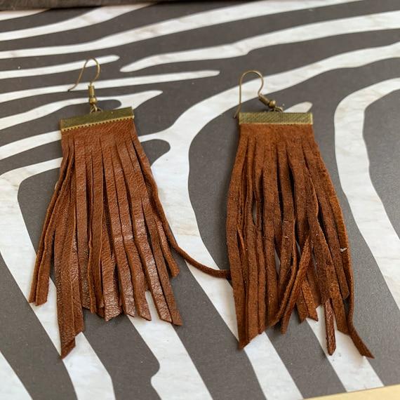 Super Soft Leather Fringe Earrings | Handmade | Lightweight | Boho Chic