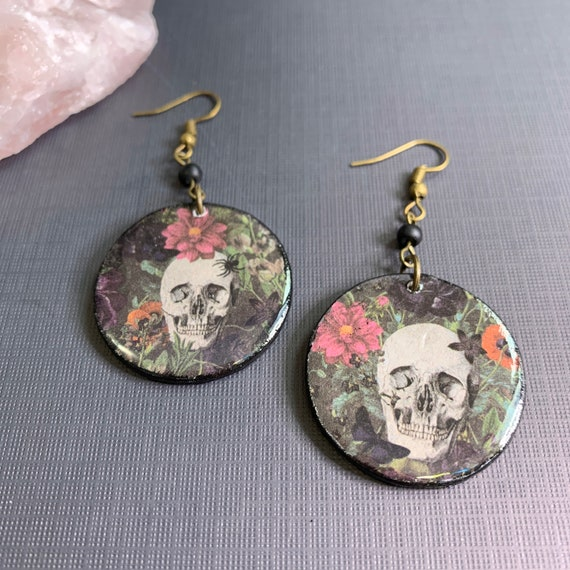 Mixed Media Floral And Skull Earrings | Perfect For Halloween