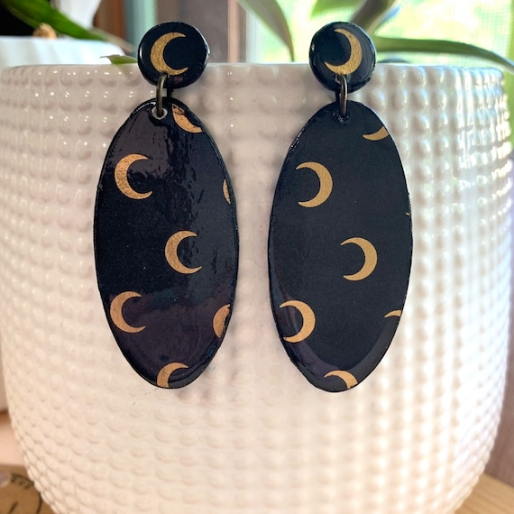 Wood Crescent Moon Earrings | Spooky Jewelry | Witchy Wear | Goth Girl | Statement Earrings | Prefect For Halloween
