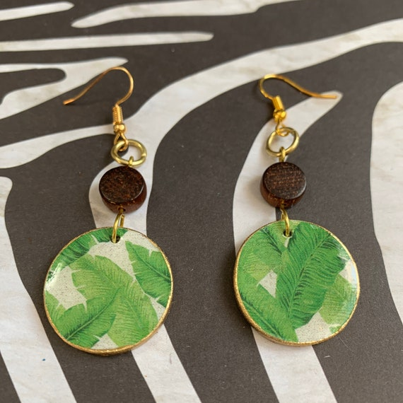 Botanical Print Mixed Media Earrings / Handmade / Lightweight / One of A Kind