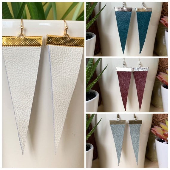 Modern Triangle Leather Statement Earrings | Industrial Look | Trendy | Simple Design | Stylish | Gift For Her | Available in 4 Colors