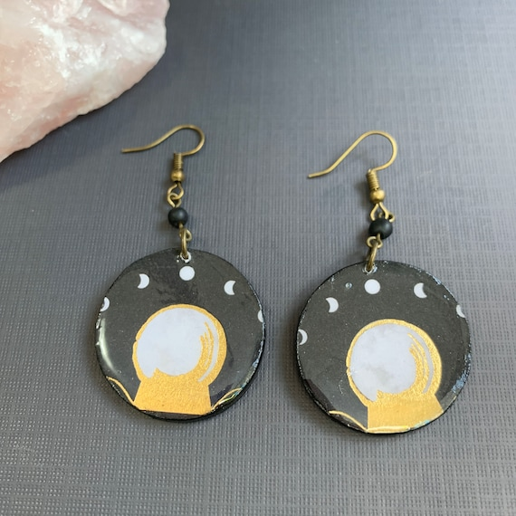 Crystal Ball and Moon Phases Mixed Media Statement Earrings | Perfect For Halloween | Tarot | Halloween | Handmade