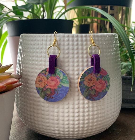 Wood, Paper and Leather | Large  Floral Statement Earrings | Gift for Her | Lightweight | Trendy | Stylish