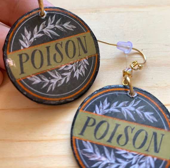 Poison Earrings | Spooky Jewelry | Goth look | Witch Jewelry | Statement Earrings | Perfect For Halloween
