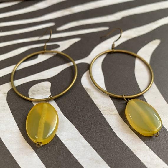 Agate Hoop Earrings / Handmade / Lightweight / One of A Kind