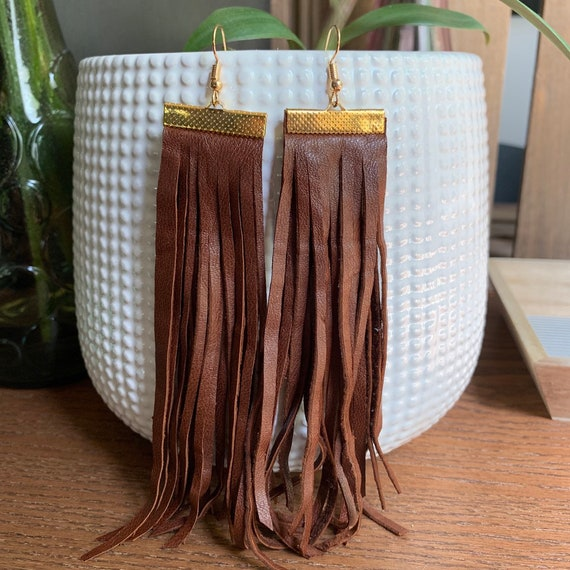 Long Brown Hand-cut Leather Fringe Statement Earrings   Gift for Her   Trendy   Stylish   Lightweight   Soft Leather