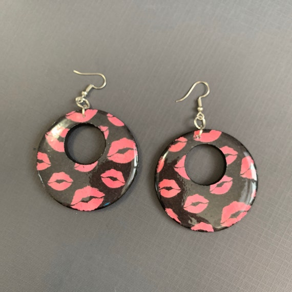 Mixed Media Valentine Earrings / Handmade / One of A Kind / Large Statement Earrings
