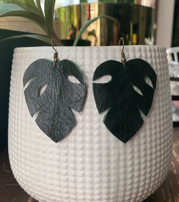 Handcut Leather Monstera Earrings | Dark Green | Gift for her | Lightweight | Stylish | Simple Design