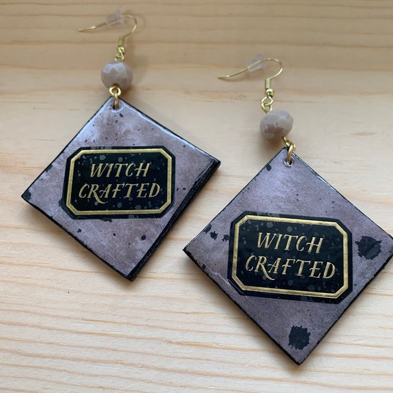 Handmade 'Witch Crafted' Earrings | Perfect For Halloween | Unique | One Of A Kind | Goth and Witch Aesthetic