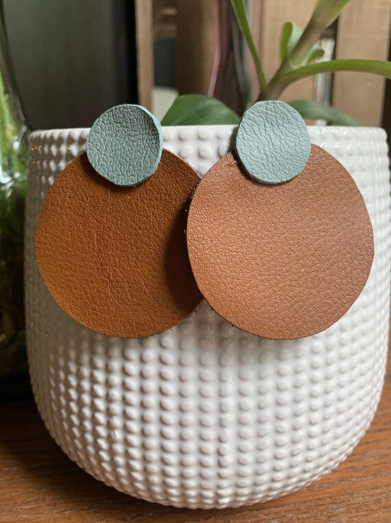 Classic Round Leather Earrings   Gift For Her   Stylish   Lightweight   Simple Design   Handcut   Handmade   6 Colors Available
