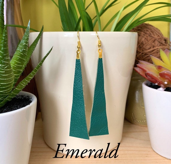 Long Triangle Leather Statement Earrings | Trendy | Stylish | Available in 6 Colors | Gift For Her | Simple Design | Urban Look
