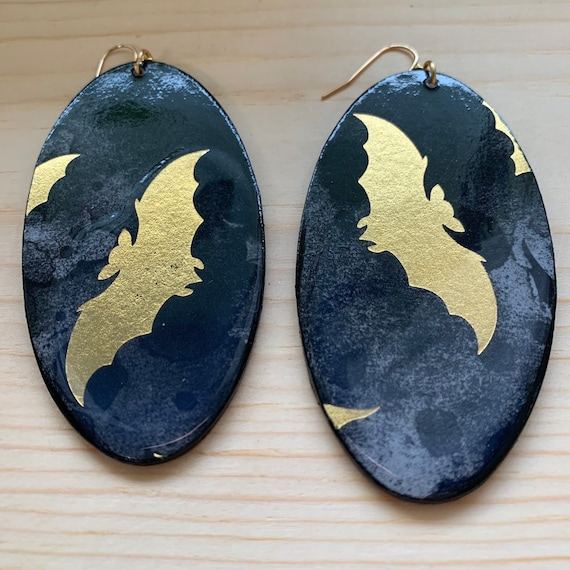 Extra Large Gold Bat Handmade Statement Earrings | Perfect For Halloween | Spooky Earrings | Witch Aesthetic | Lightweight