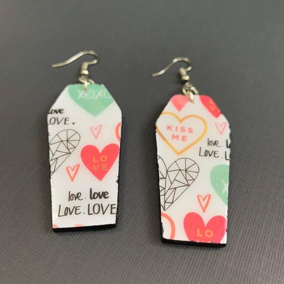Small Coffin Shape. Mixed Media, Statement Earrings / Perfect for Valentines / Valloween / Lightweight