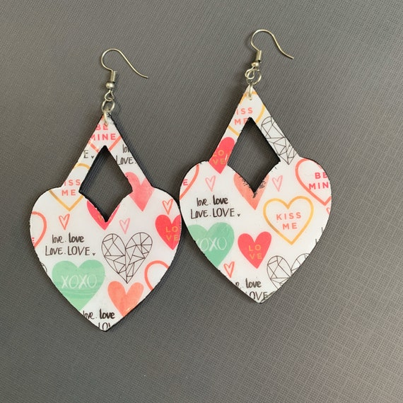 Large Heart Shaped Mixed Media Earrings / Perfect For Valentines / Lightweight / Handmade