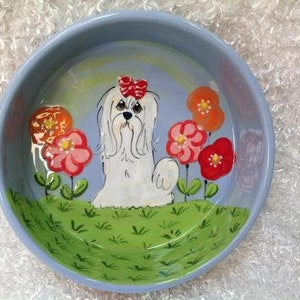 Pet Food Dog Bowls for Small Large Dogs Handmade Painted Breed Pet Ceramic Bowls Havanese Custom Personalized Ceramic Dog Bowls