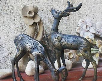 Vintage Solid Brass Deer Statues, Mid Century Brass Stag Deer Doe Figurines, Pair of Brass Deer and Doe Statues Office Decor.