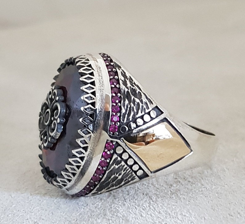 free express shipping Vintage Garnet Ring Solid 925 Sterling Silver Ring Handmade Silver Jewelry for Women and Men/'s Party