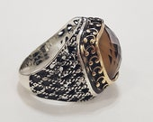 Smoky quartz men ring in 925 sterling solid silver, free express shipping