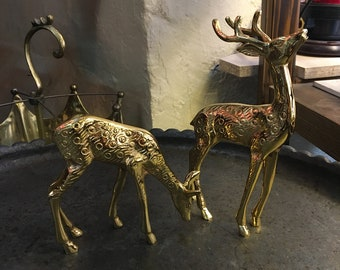 Vintage Solid Brass Deer Statues, Mid Century Brass Stag Deer Doe Figurines, Pair of Brass Deer and Doe Statues Office Decor. Christmas gift