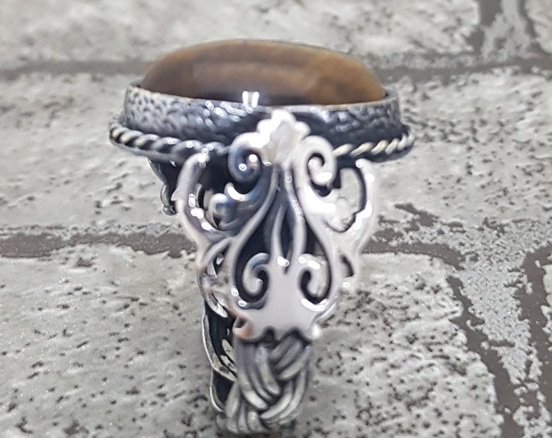 Handmade 925k Sterling Silver Tiger Eye Stone Men/'s Ring Handmade Ring.