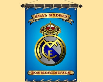 c523e3e56 FC Real Madrid Rare Grunge Style Flag With Different Logo And Nickname   SET  5 in 1 Banner Sticker Pennant Postcard Magnet