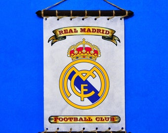 a3883384c FC Real Madrid Rare Grunge Style Flag With Crest (Logo)  SET  5 in 1 Banner  Sticker Pennant Postcard Magnet