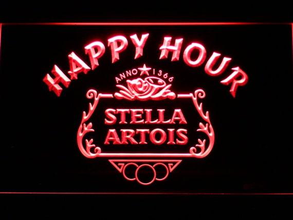 Stella Artois Beer Happy Hour Bar Led Neon Sign Etsy