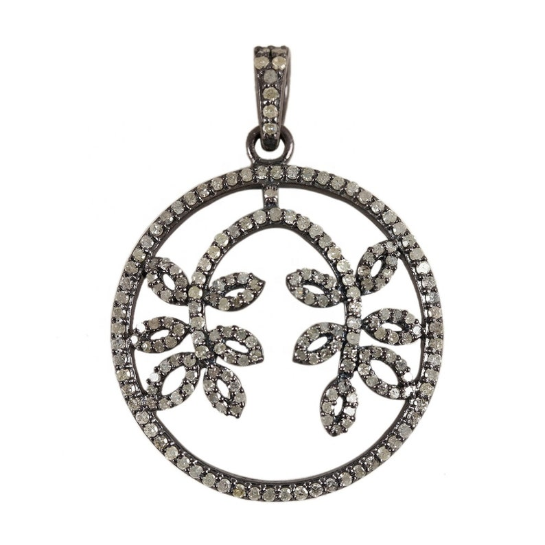 Pave Diamond 1.89 Cts Fashion Round Shape Branch Leaf Pendant 925 sterling silver Jewelry Gems Trade Mart
